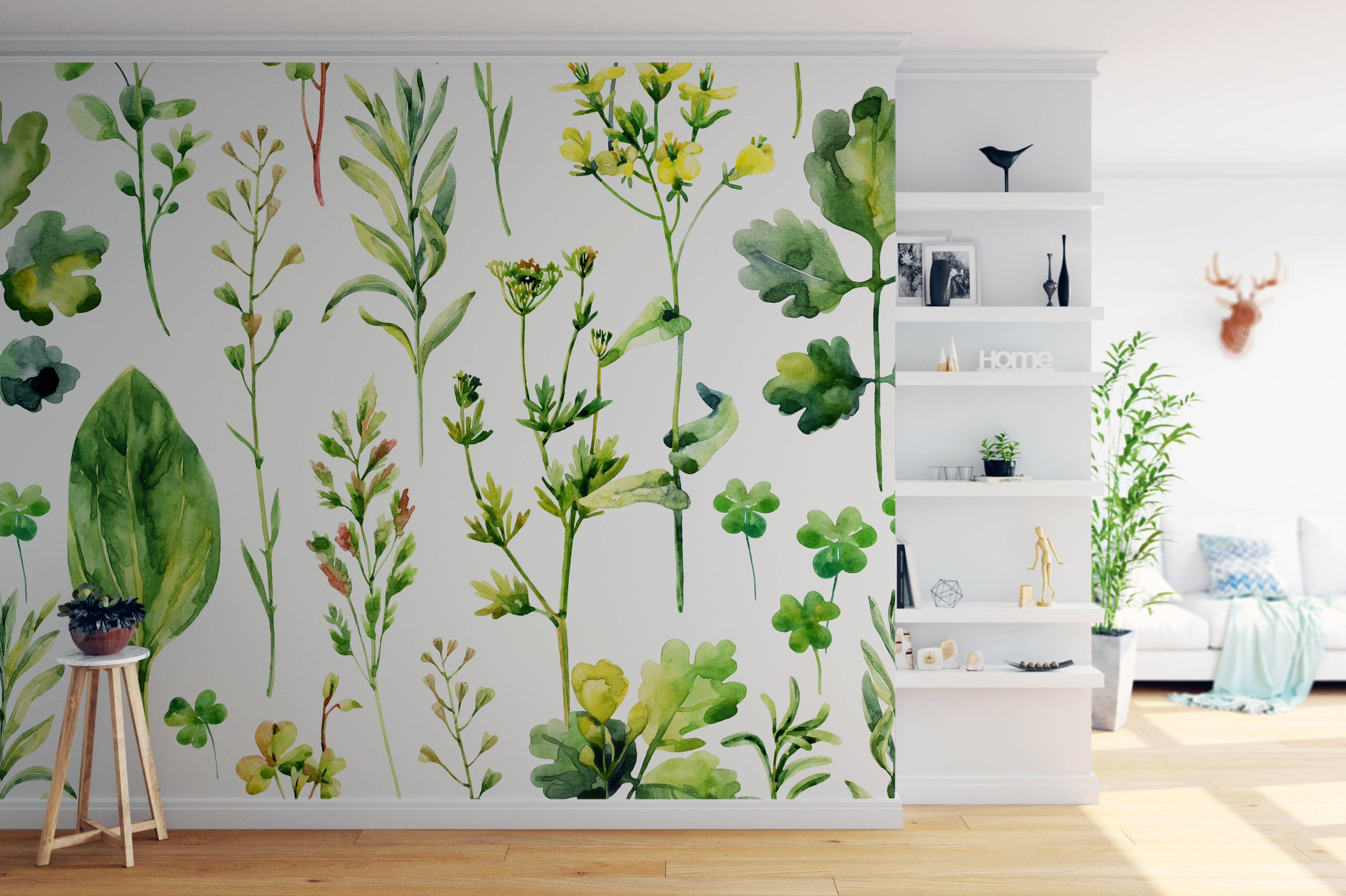 Herbarium • Scandinavian - Living room - Nature - Flowers and plants - Wall Murals ✓ 365 Day Money Back Guarantee ✓ Consulting on the Pattern Selection ✓ 100% Safe✓ Set up online!