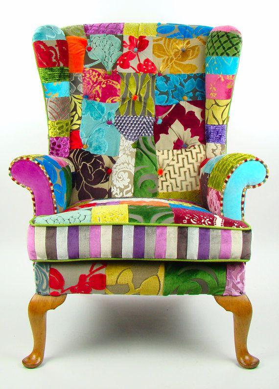 bespoke patchwork parker knoll armchair designers guild fabric