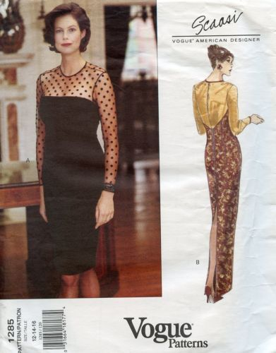 90s Designer Vogue Pattern 1285 Scassi Mob Evening Cocktail