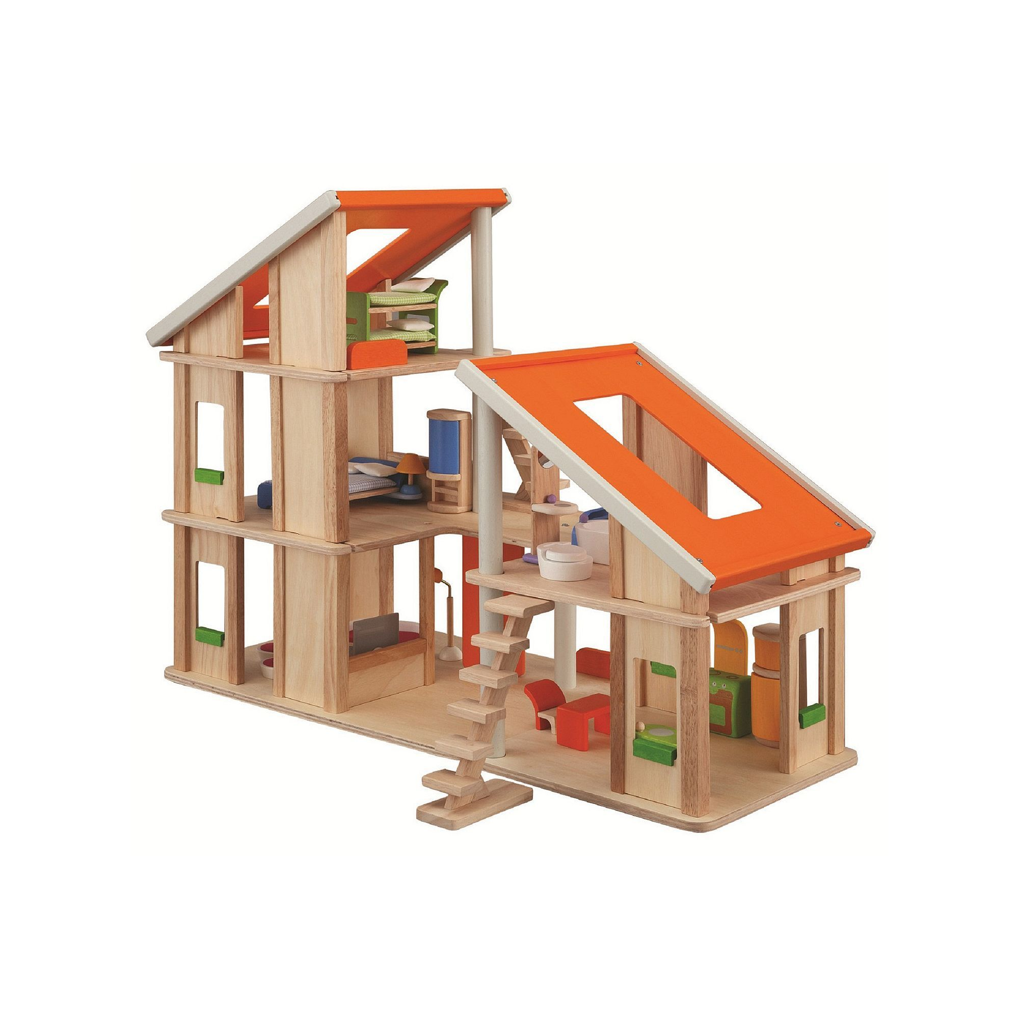 Plan toys chalet dollhouse with furniture multicolor