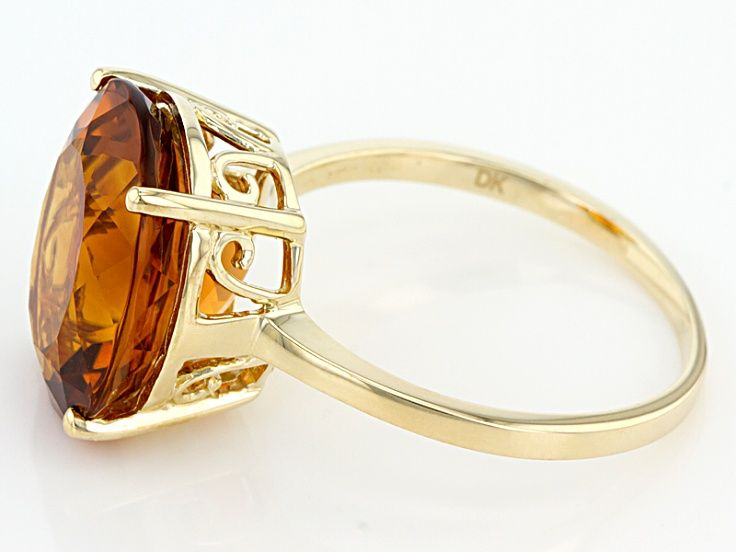 Orange Madeira Citrine 10k Yellow Gold Solitaire Ring 5 31ct In 2020 Gold Solitaire Ring Solitaire Ring Rings