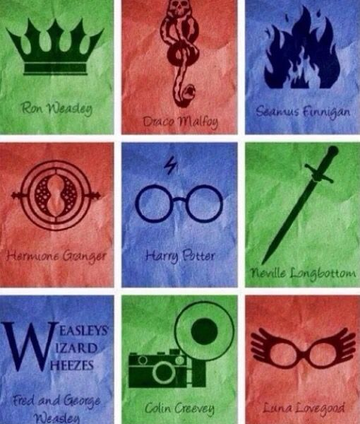 Ron, Draco, Seamus, Hermione, Neville, Fred and George, Colin, Luna