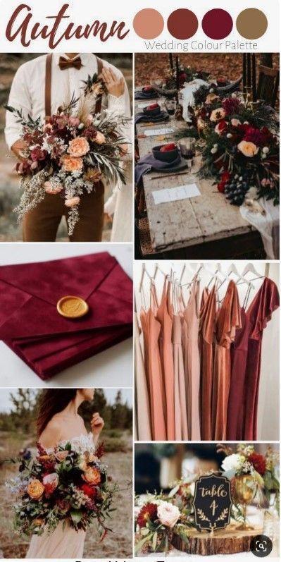 Autumn Wedding Inspiration Mood BoardBurgundy Envelopes