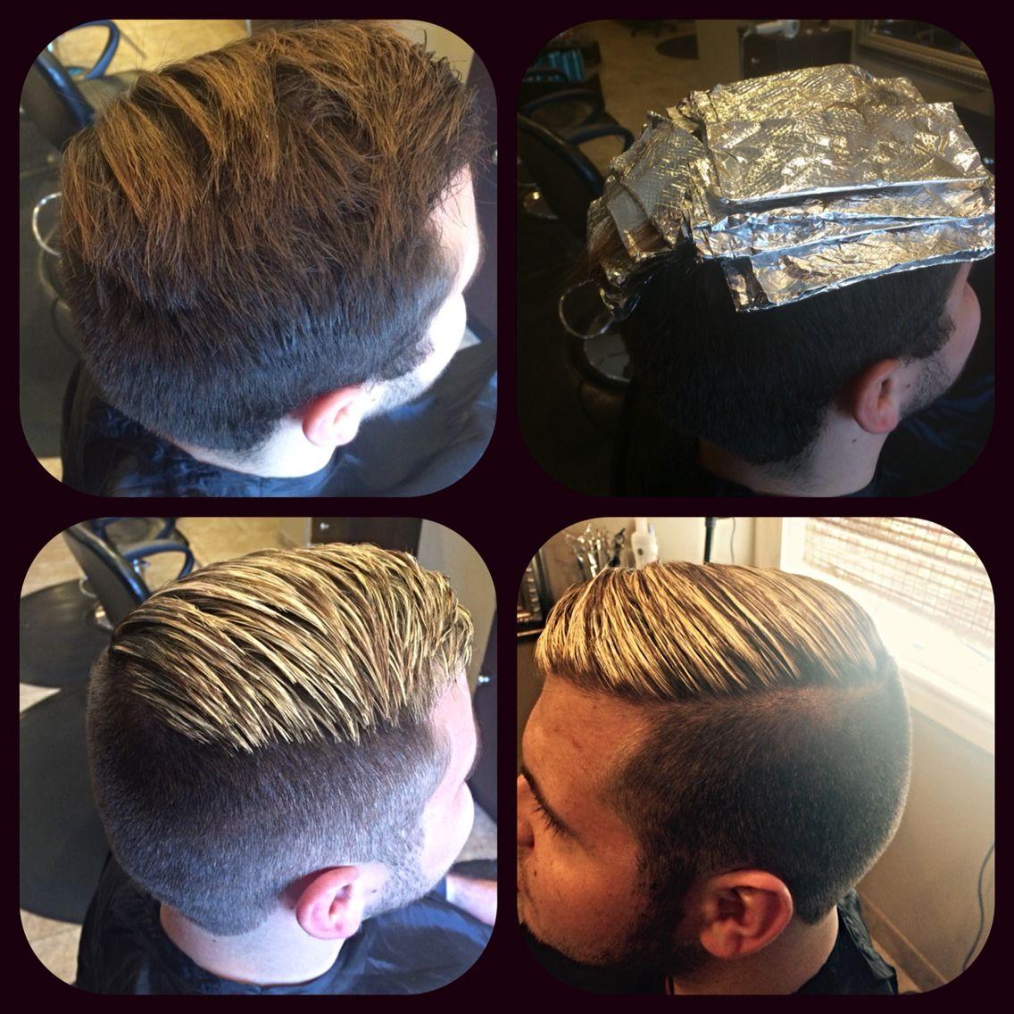 Men S Highlight Men S Foil Blonde Men Hair Color Boy Hairstyles