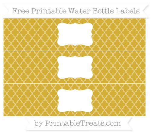 Metallic Gold Moroccan Tile DIY Water Bottle Labels ...