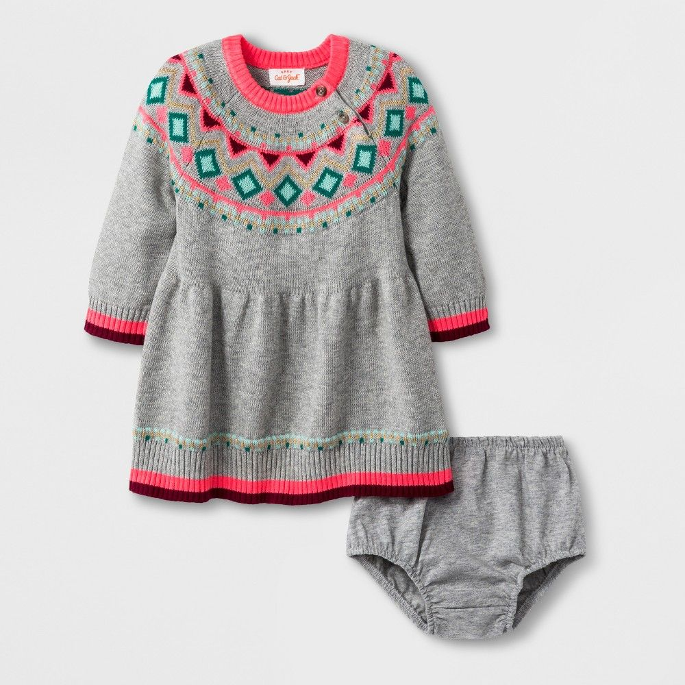 eef38879d7 Keep your little one looking cute and feeling cozy when cool weather rolls  in with the Fair Isle Sweater Dress from Cat and Jack. This baby girls   sweater ...