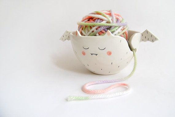 Halloween Special. Ceramic Vampire Yarn Bowl/ Knitting Bowl/ Crochet Bowl, Decorated in Black and Pink. Ready to Ship