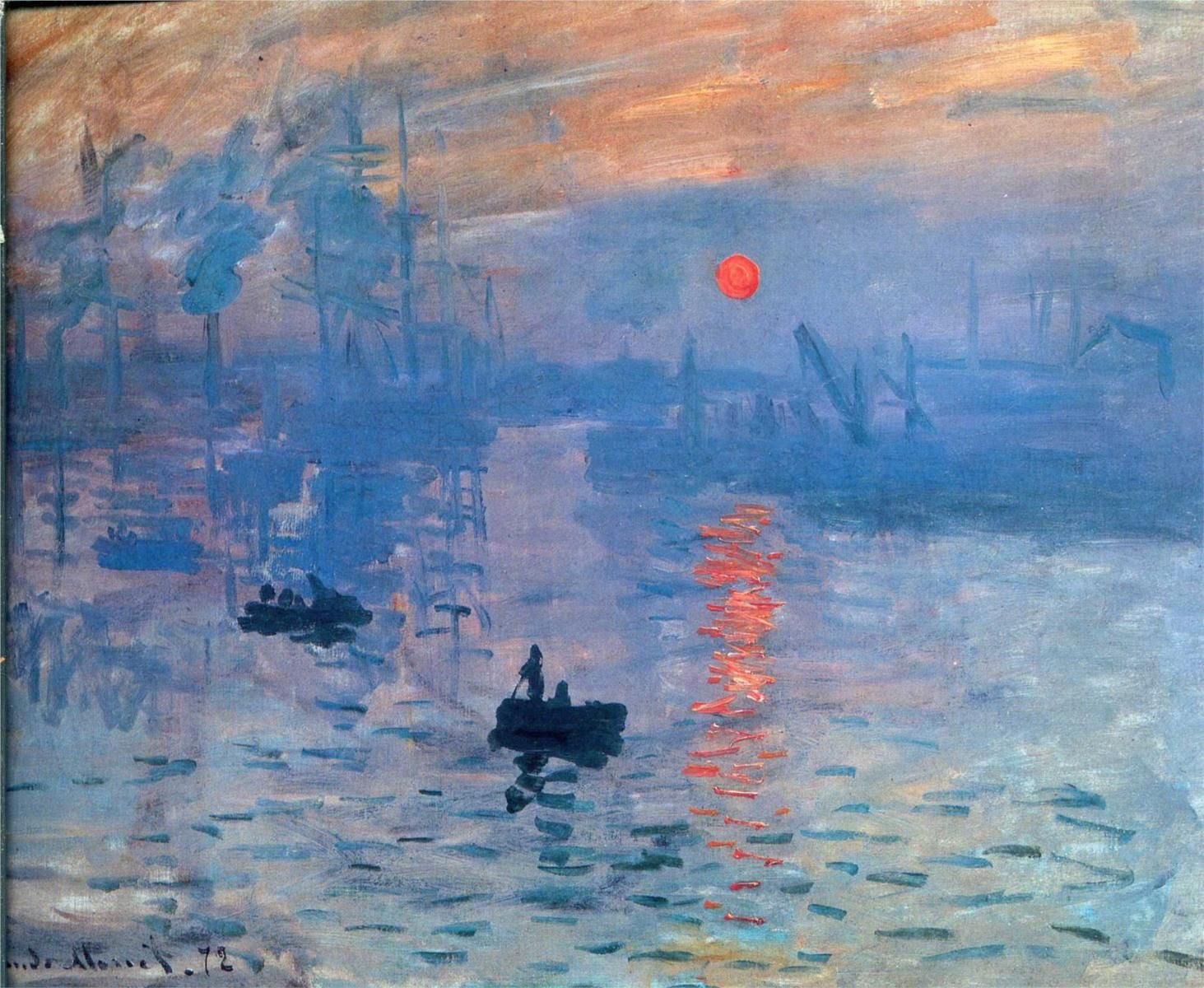 Impression,sunrise _ Claude Monet 1873 Monet was asked to explain this painting. He answered: It's just an Impression. So started the name Impressionism
