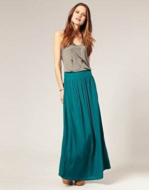 maxi skirt | style it. | Pinterest | Teal, Teal maxi skirts and Gray
