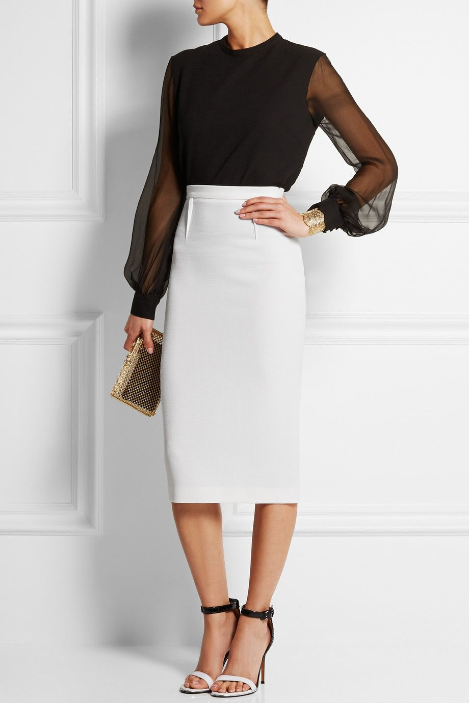 46904f6fd9 ROLAND MOURET Arreton wool-crepe pencil skirt $795| EDITORS' NOTES &  DETAILS Roland Mouret's 'Arreton' pencil skirt is designed to flatter – it  smooths ...