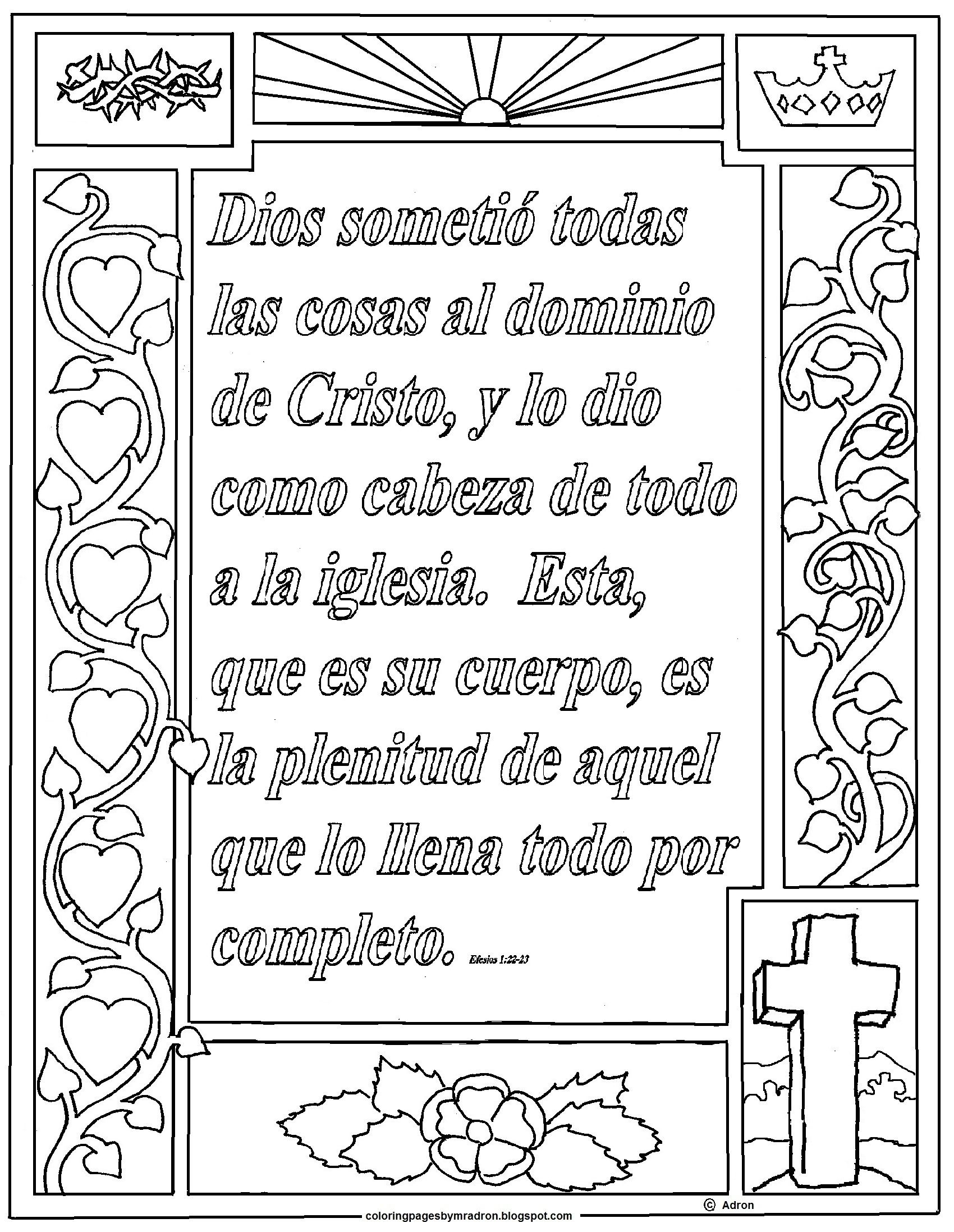 Print And Color Page For Ephesians 1 22 23 In Spanish Efesios 1