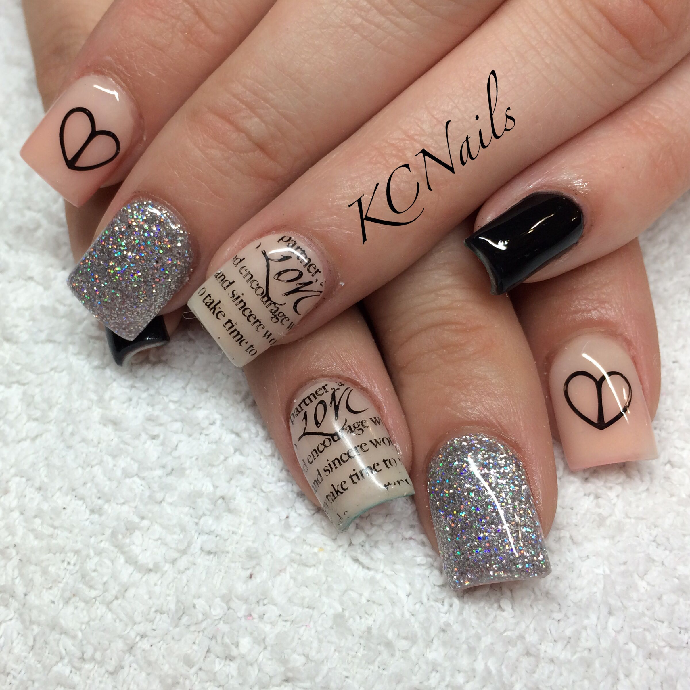 Peach/nude, silver and black acrylic nails. Bundle monster stamped ...