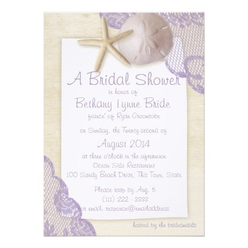 Treasured Beach and Lace Bridal Shower Custom Invites