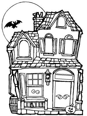 halloween creepy haunted halloween house coloring page