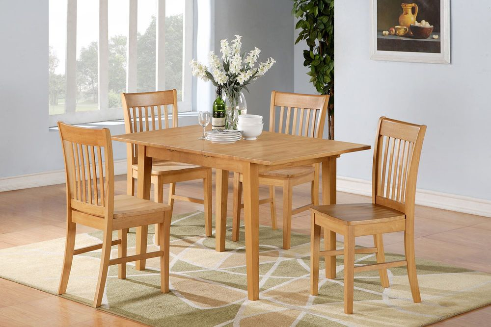 Awesome East West Furniture 5pc Norfolk Kitchen Dinette Dining Set Table + 4 Chairs  Oak