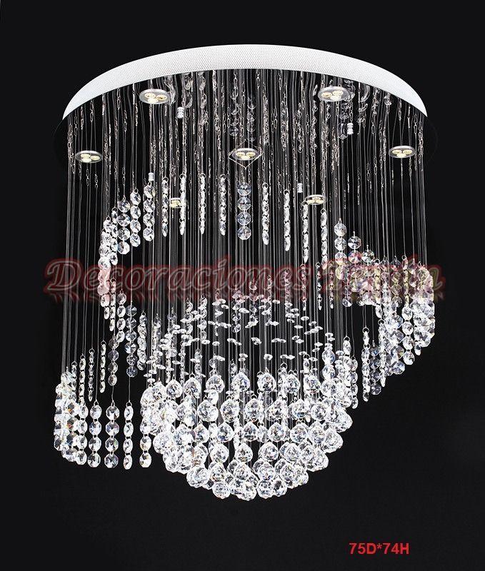 lampara de techo de cristal cortado sala comedor recamara