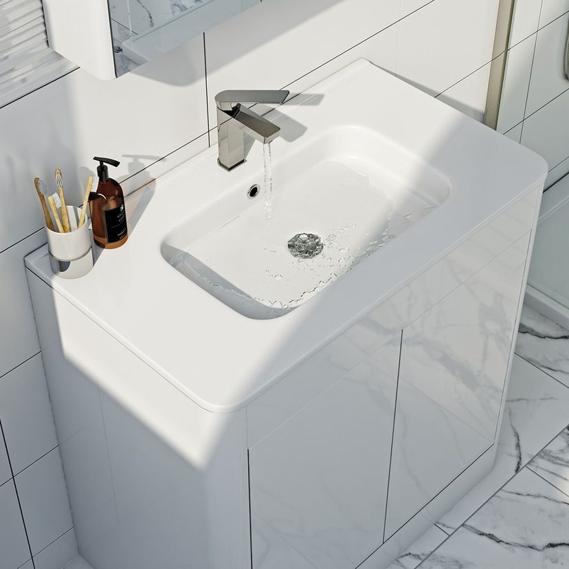 Mode Purity Ice White Floor Mounted Vanity Unit With Basin 800mm