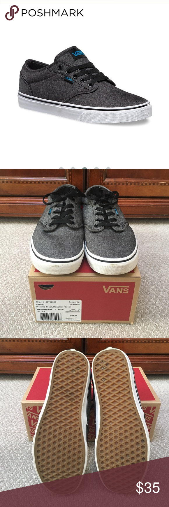 Vans Atwood in Textile Black Hawaiian Ocean Vans Atwood in Textile Black Hawaiian  Ocean. In very good pre-owned condition. From a clean  79fa2d658