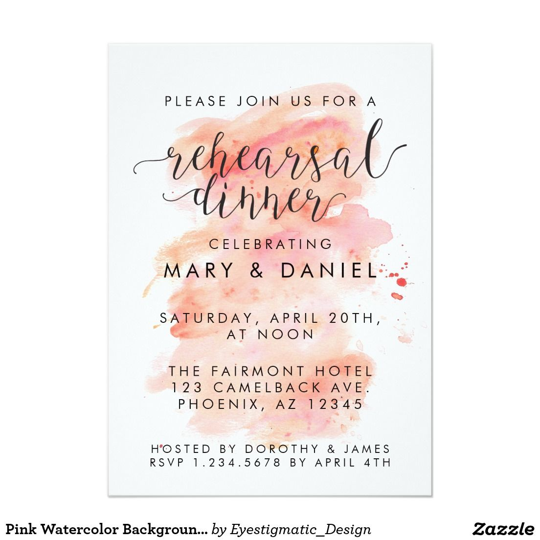 Pink Watercolor Background Rehearsal Dinner Invitation