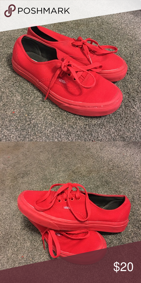 91453898b23d Red Vans All red slip on vans. Great condition worn only a few times. Size  7! Vans Shoes