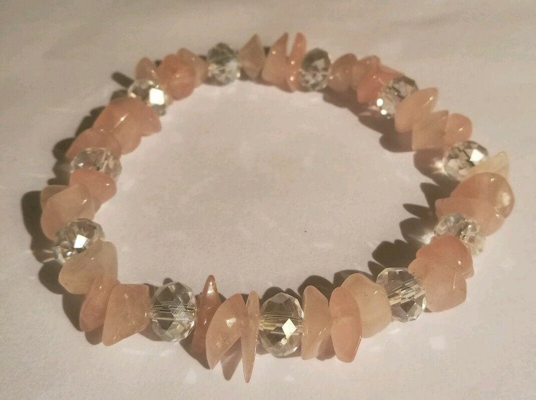Rose Quartz Gemstone Love & Healing Bracelet with Clear Sparkling Crystals 7.5