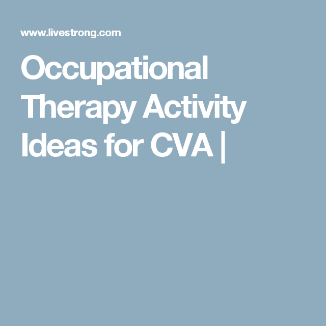 Occupational Therapy Activity Ideas for CVA | Ideas, Terapia y ...