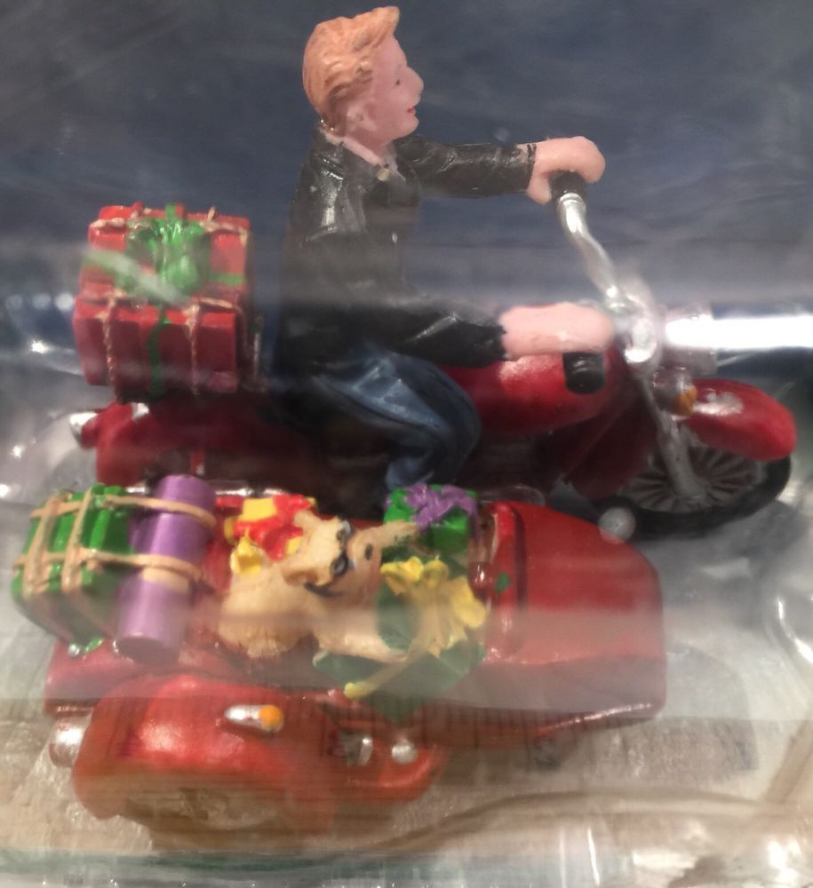 2012 Lemax Motorcycle Rider w/ Sidecar Dog Presents Table Accent Christmas NIB!!