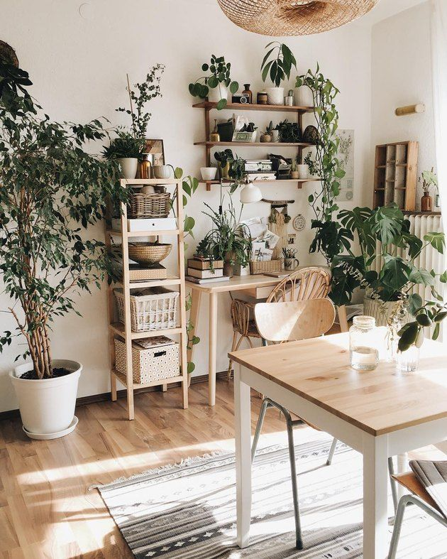 Bohemian dining room with wall mounted shelving and bookcases also amazing indoor garden decorations tips ideas home decor rh pinterest