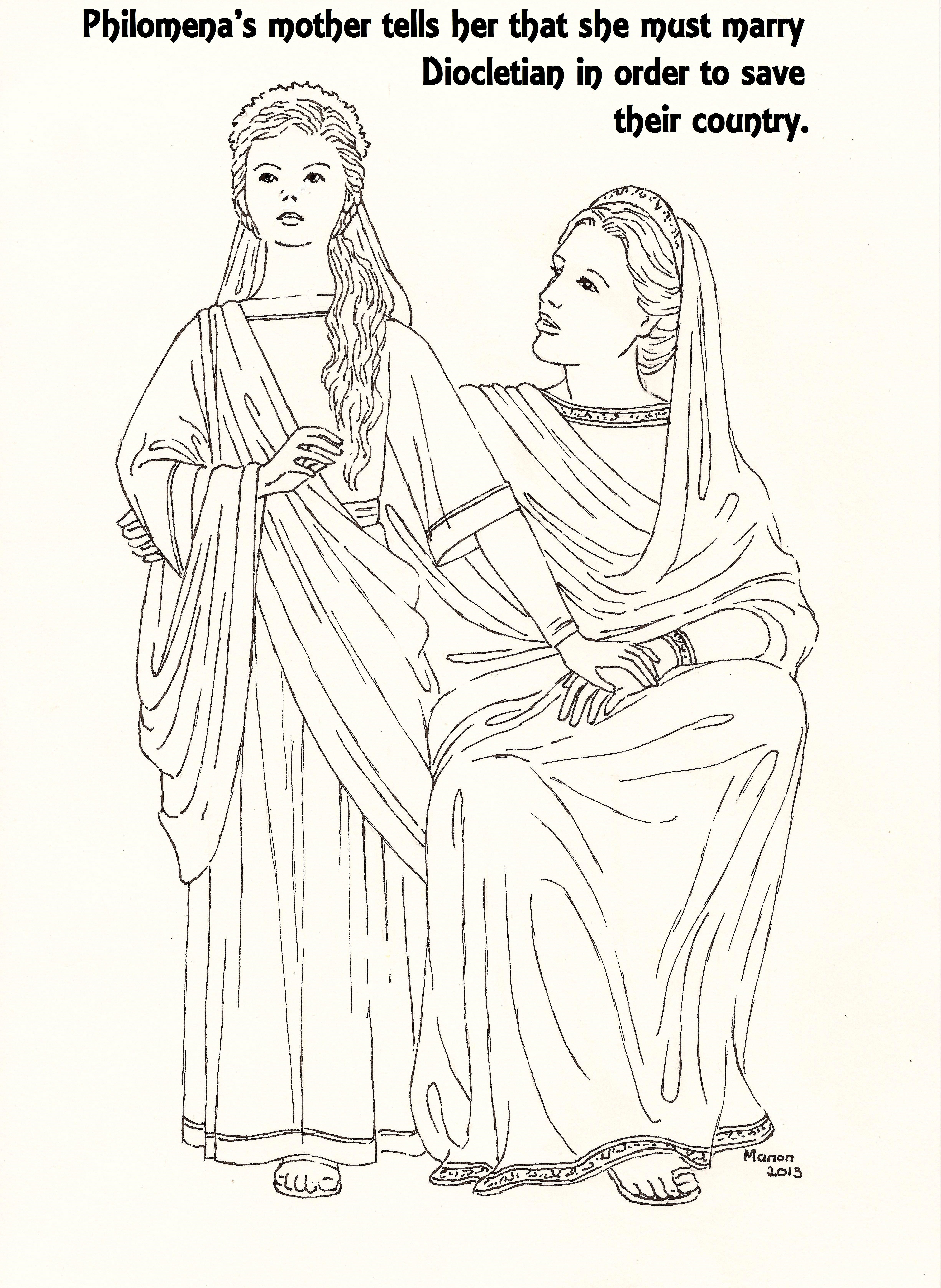 St Philomena A Picture To Colour And Her Mother Manondanielsmassarigmail