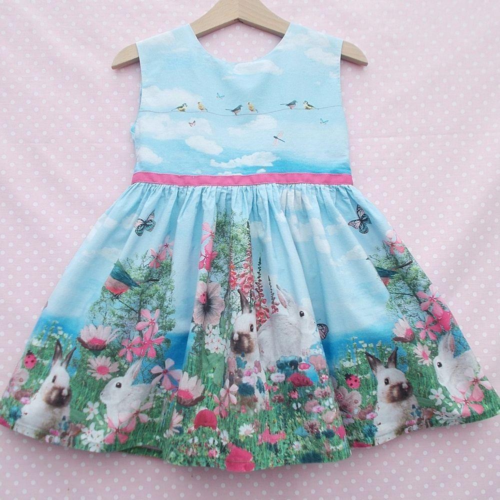 Girls NEXT Springtime Garden Bunny Rabbit Party Dress age 18-24 ...