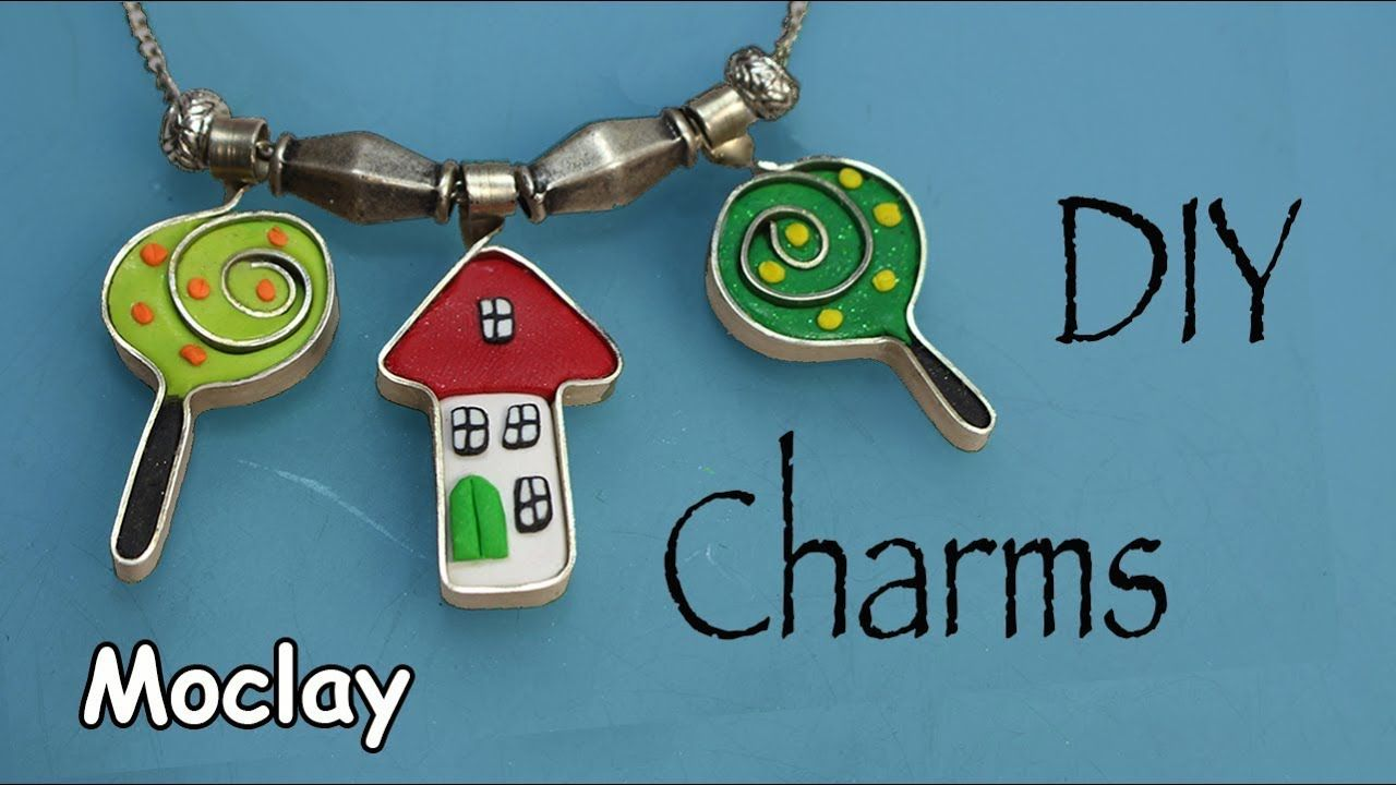 DIY Charms with flat wire and Polymer clay | WIRE WRAPPING & POLYMER ...