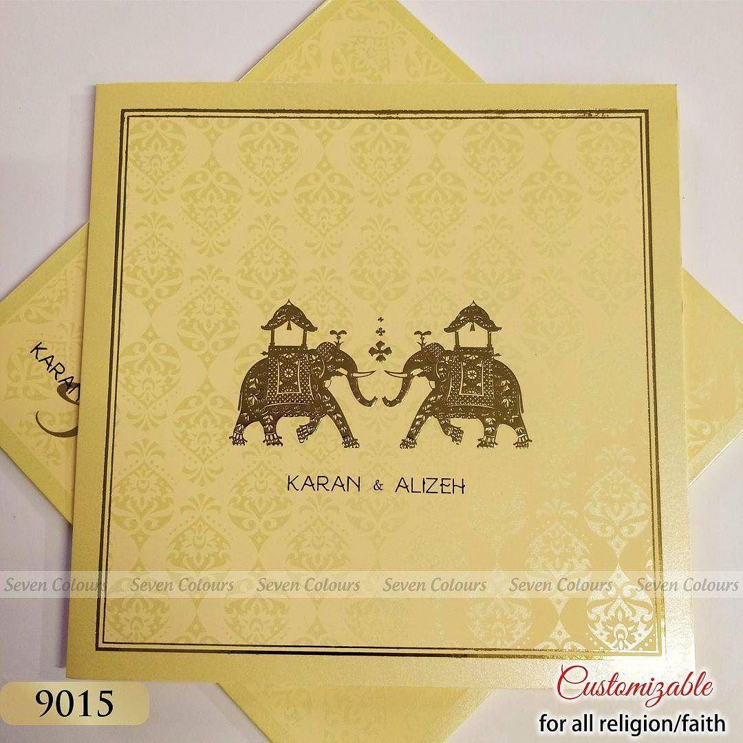 Elephanttheme Wedding Invitation In Cream Colour Weddingcards