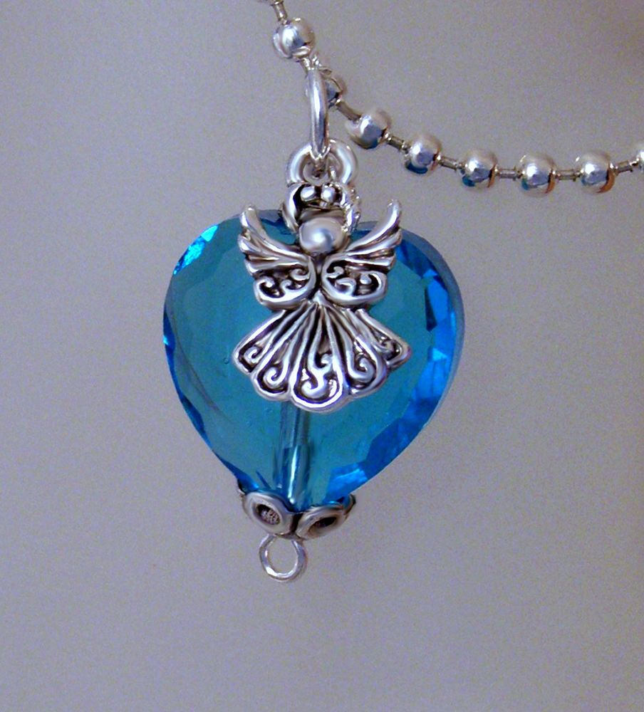 Blue Glass Crystal HEART ANGEL Pendant Necklace-  Angel Lovers-Gift for Her #handmade #pendantnecklace