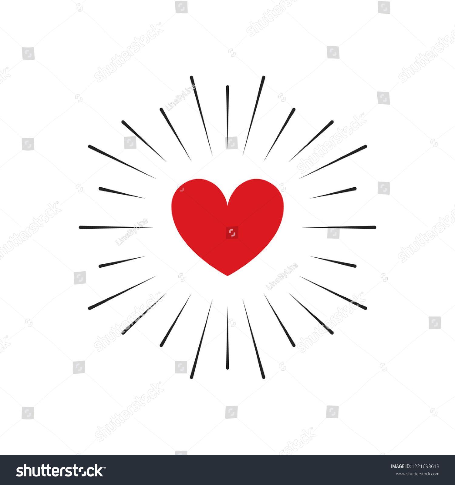 Heart with Sun Burst Vector Illustration