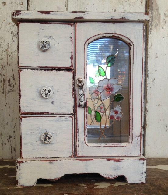 JEWELRY BOX SMALL Shabby Chic Distressed by SouthamptonVintage