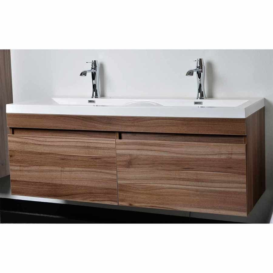 Modern bathroom vanity set with wavy sinks in walnut tn a1440 wn for the Design bathroom vanity cabinets