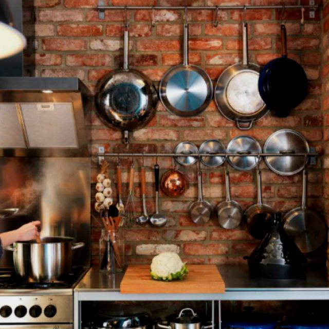 Urban Country Kitchen: Pots And Pans - Exposed Brick Kitchen - FTW!