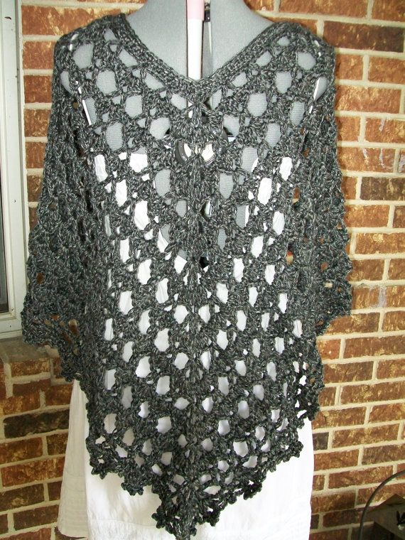 Plus Size Lacey Crochet Poncho Cover Up Shawl by more2adore | I love ...