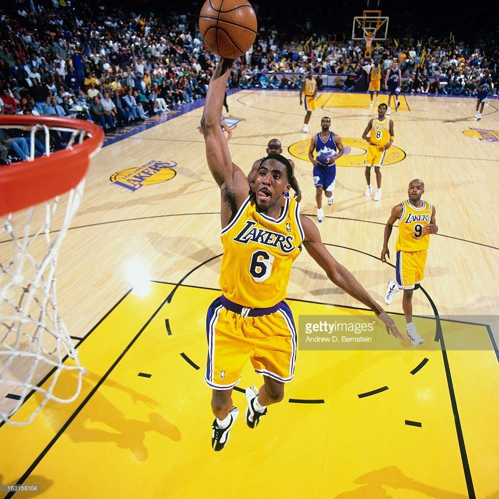 Eddie Jones 6 Of The Los Angeles Lakers Dunks Against The Utah Jazz In Game Three Of The Western Conferenc Mvp Basketball Basketball Legends Lakers Basketball
