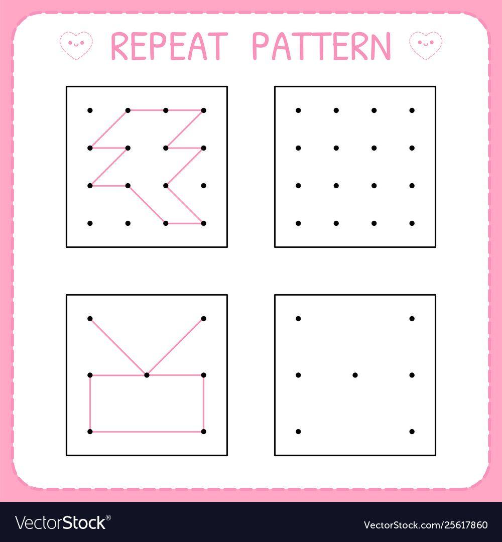 Worksheet For Kindergarten And Preschool Repeat Vector Image Spon Preschool Ki Kindergarten Worksheets Math Patterns Kindergarten Subtraction Worksheets