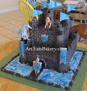 Creative Boys Castle Birthday Cake Design With Edible Knight Princess And Flags The Dragon Is Toy