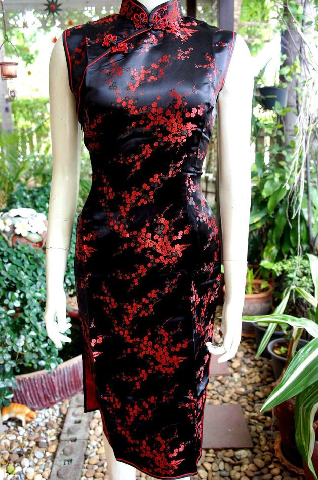 Asiatische Mode - Asia/China Qipao/Geisha Kleid Schwarz/Rot Gr.34-42 ...