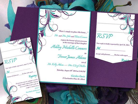 Pocketfold Wedding Invitation Template Set Peacock Teal Purple