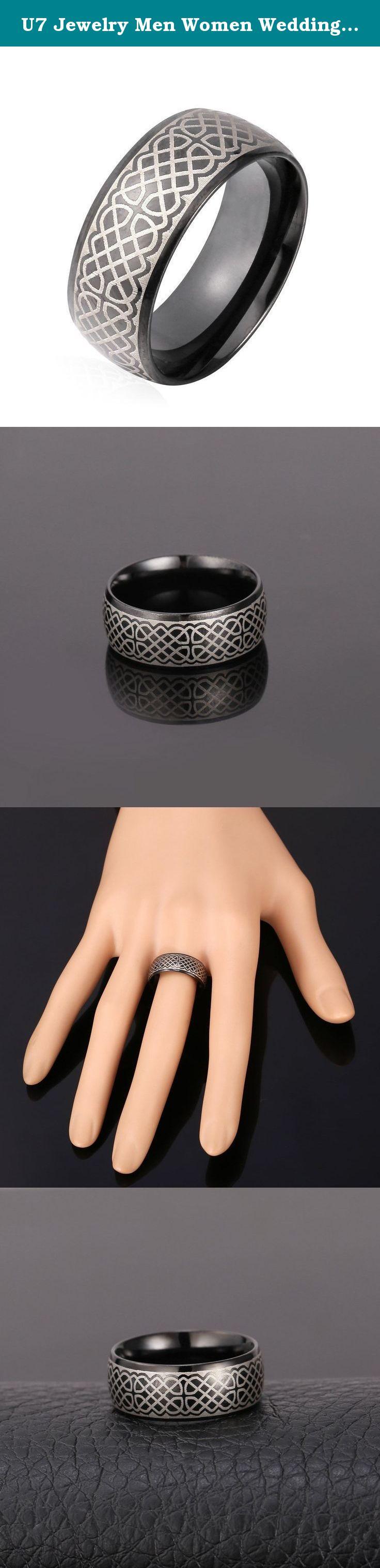 U7 Jewelry Men Women Wedding Black Gun Plated Ring 8MM Stainless