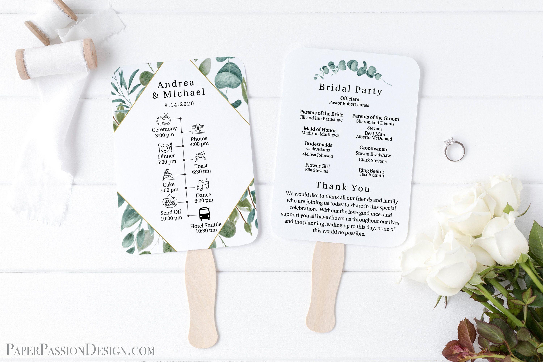 Greenery Wedding Program Fan With Timeline Fan Template Etsy In 2020 Wedding Program Fans Wedding Programs Wedding Day Schedule