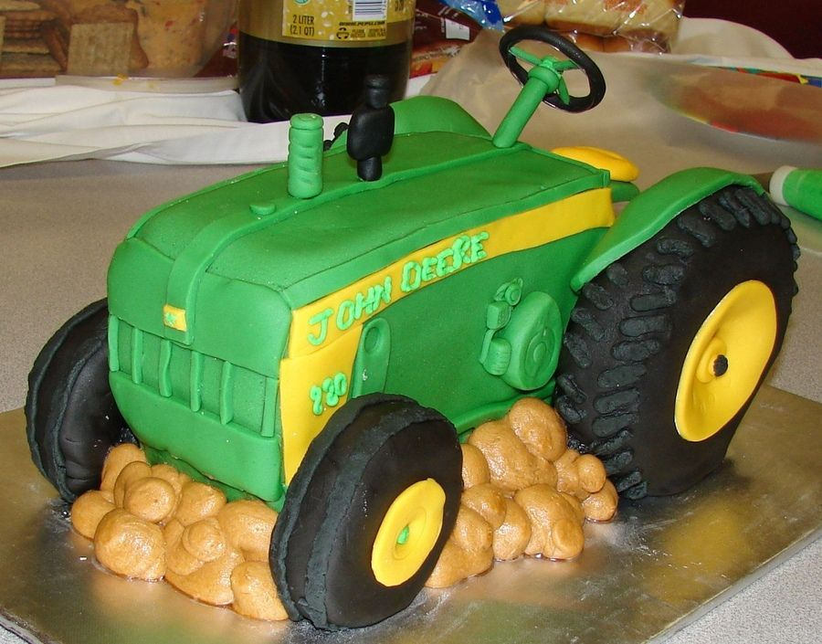 3D John Deere tractor, carved layered pound cake with RCT