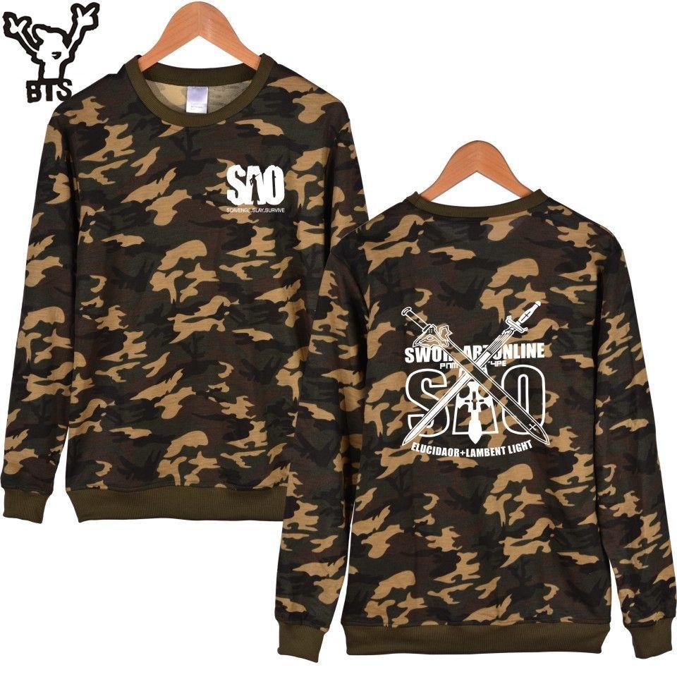 ec8536205 BTS Sword Art Online Anime Camouflage Capless Hoodies And Sweatshirts For  Couples Classic Japan Cartoon Hoodies