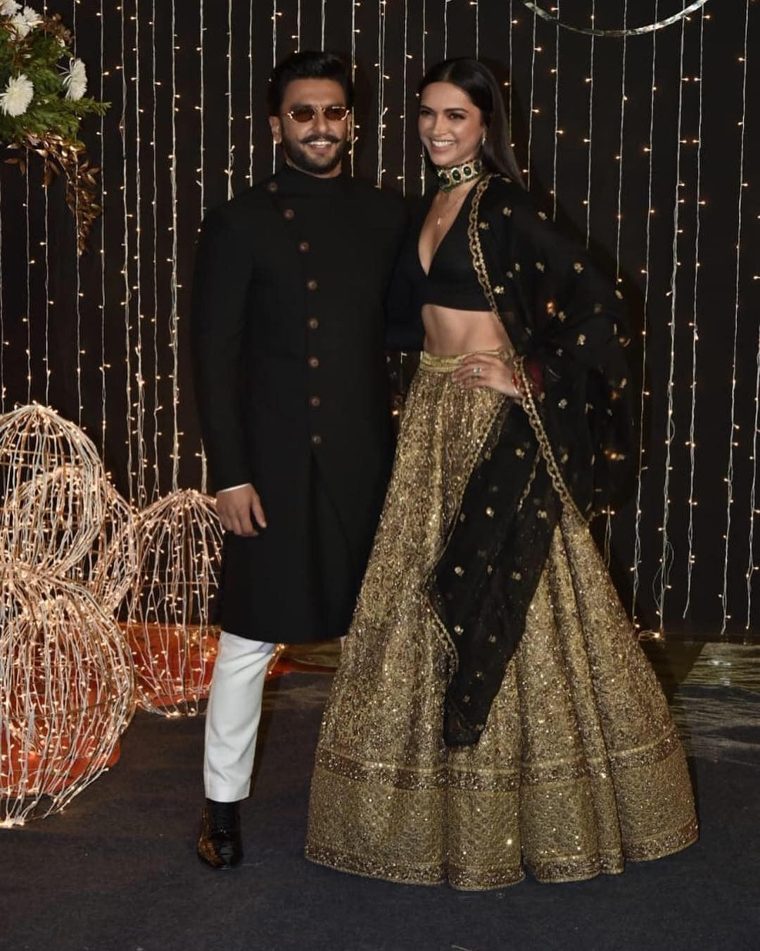 Deepika Padukone At Priyanka N Nick S Wedding Reception Bollywood Dress Indian Bridal Wear Indian Wedding Outfits