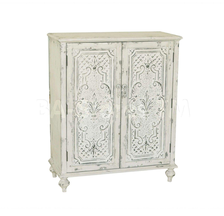 White Distressed 2 Doors Accent Chest   Pulaski Furniture