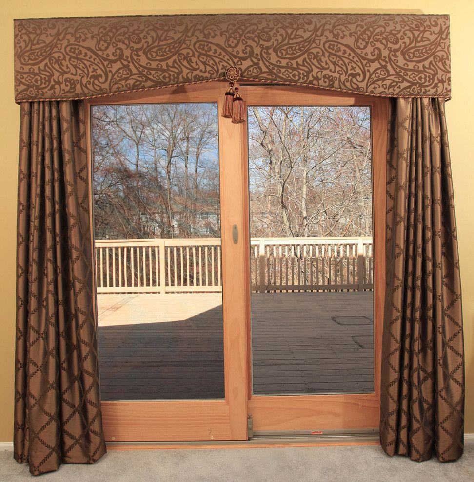 Patio Door Cornice And Drapery Traditional Curtains Newark Marina Klima Goldberg Allied Asid Caps Sliding Door Curtains Door Window Treatments Patio Doors